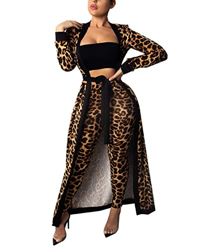Womens 2 Piece Print Outfits Clubwear Long Sleeve Open Cardigan Pants Set Leopard Size S