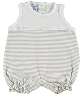Pelele bebé de canesu y puntilla BABIDU rayas gris