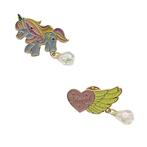 Herinos 2Pcs Cartoon Enamel Pins Funny Badges Unicorn Angel's Wing Lapel Christmas Brooch Clothes/Bags/Backpacks/Jackets ()