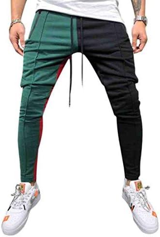 メンズルーズヒップホップファッションの盛り合わせ色ステッチジョガーパンツ