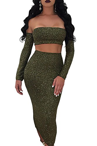 Sunfury Women Sparkly Sexy Off Shoulder Backless Long Sleeve Lace Up Cut-Out Bodycon Dress