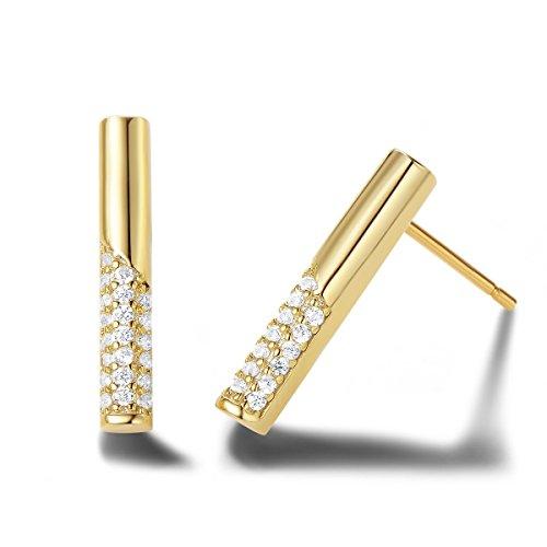Carleen 14k Yellow Gold Plated 925 Sterling Silver Dainty Statement CZ Cubic Zirconia Bar Earrings Delicate Fine Jewelry Stud Earrings for Women Girls ()