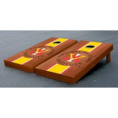 Virginia Military Keydets Cornhole Game Set Rosewood Stained Stripe Version