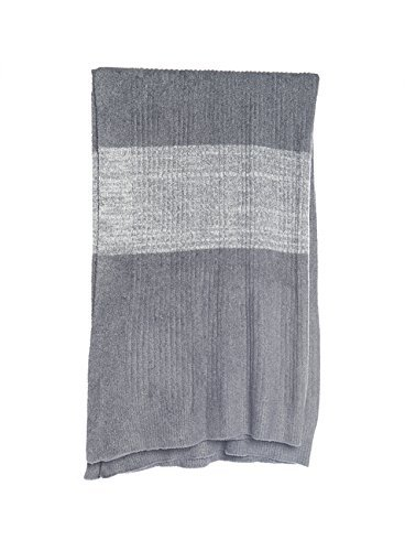 Barefoot Dreams BCL Ribbed Throw with Heathered Stripe Graphite-Heathered Graphite/Pearl by Barefoot Dreams