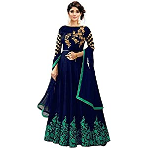 Suppar Sleave Women's Dupion Silk Semi-Stitched Embroidered Gown With Duptta(Navy Blue;Free Size)