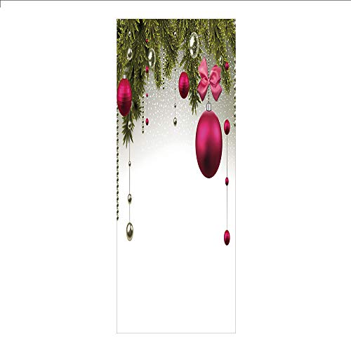(3D Decorative Film Privacy Window Film No Glue,Christmas,Vivid Fir Twigs and Magenta Balls Framework Special Day Preparation,Magenta Olive Green Grey,for Home&Office)