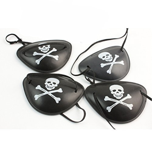Paialco Plastic Pirate Eyepatch Costume for Hallowen, Pack of 4