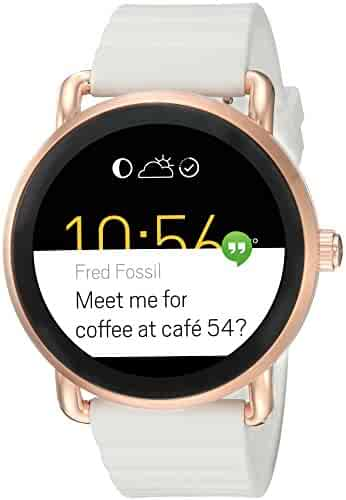 Fossil Q Wander Gen 2 Touchscreen White Silicone Rose Gold Tone Smartwatch