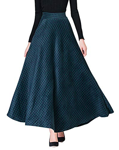 chouyatou Women's Retro High Waist A-Line Swing Maxi Check Plaid Wool Skater Skirt (Large, ()