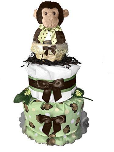 Monkey 2-Tier Diaper Cake for a Boy or Girl - Baby Shower Gift Idea - (Monkey Diaper Cake)