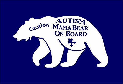 Autism Mama Bear on Board with Puzzle Piece Vinyl Decal Car Truck Window Wall Glass (5.5 Inches Wide, White) Dixie Trucks