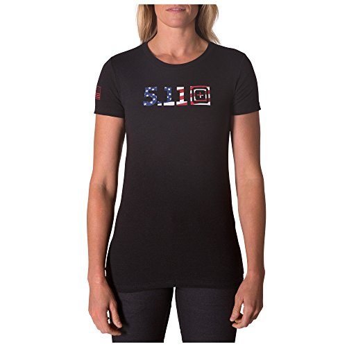 5.11 Mujer Legacy USA Flag Fill T Negro HTR, X-Small