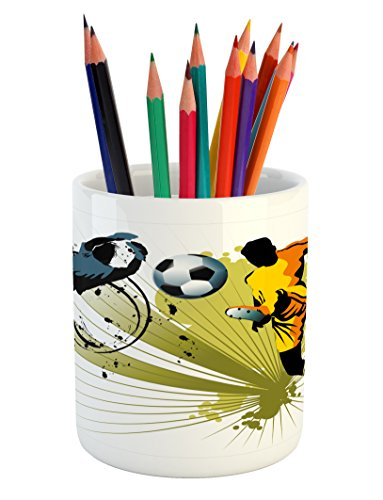 Lunarable Boy's Room Pencil Pen Holder, Soccer Player Attack Gate of the Opponent Jumping Goalkeeper Abstract Colorful, Printed Ceramic Pencil Pen Holder for Desk Office Accessory, Multicolor by Lunarable