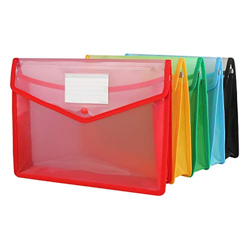 CBTONE A4 Plastic Wallet Folder Envelope, 5 Pack Waterproof Poly Envelope Plastic File Wallet Document Folder with Button Closure for School Office Home - Red Blue Yellow Green Black