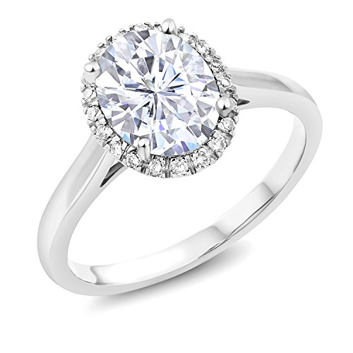 10K White Gold Fashion Right-Hand Ring Forever Classic Oval 2.10ct (DEW) Created Moissanite by Charles & Colvard (Size (Fashion Right Hand Ring)