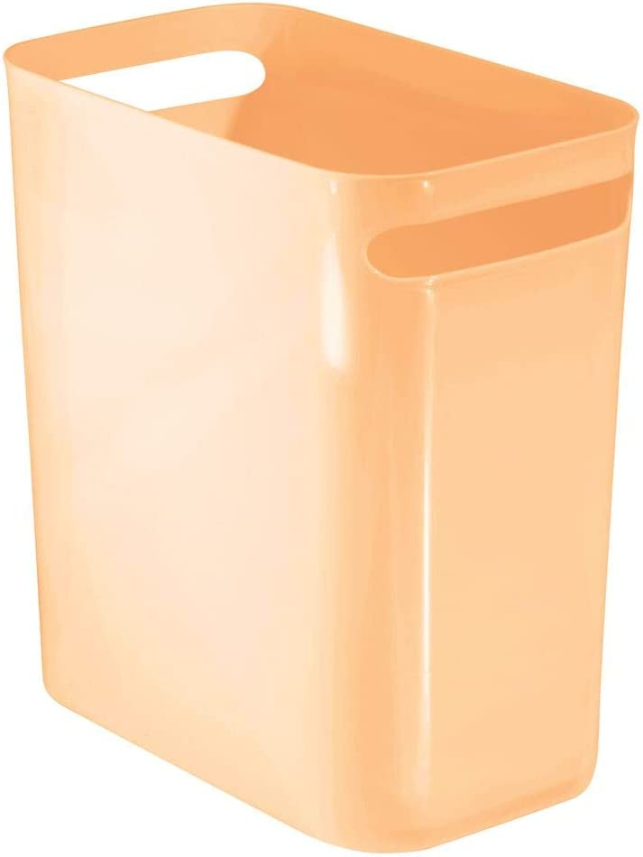"mDesign Slim Plastic Rectangular Large Trash Can Wastebasket, Garbage Container Bin with Handles for Bathroom, Kitchen, Home Office, Dorm, Kids Room - 12"" High, Shatter-Resistant - Peach"