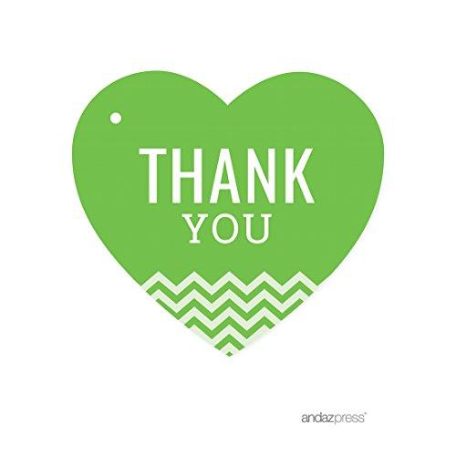 (Andaz Heart Gift Tags, Chevron Style, Thank You, Kiwi Green,)