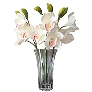 Orchid Stems Latex Real Touch Orchids -(WHITE)- Hand Made- Delicate Petals Rich in Detail -Hand Painted Centres- Comes in a Gift Box - 3 x Stems,9 x Flowers 6 x buds 1