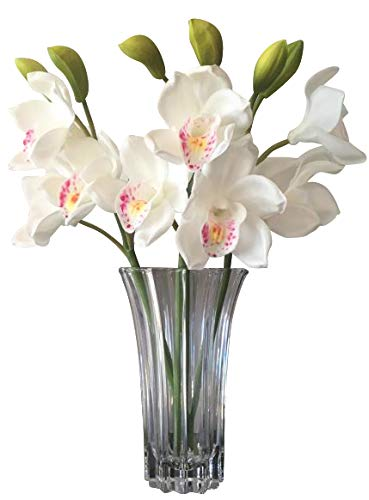 Orchid Stems Latex Real Touch Orchids -(WHITE)- Hand Made- Delicate Petals Rich in Detail -Hand Painted Centres- Comes in a Gift Box – 3 x Stems,9 x Flowers 6 x buds ()