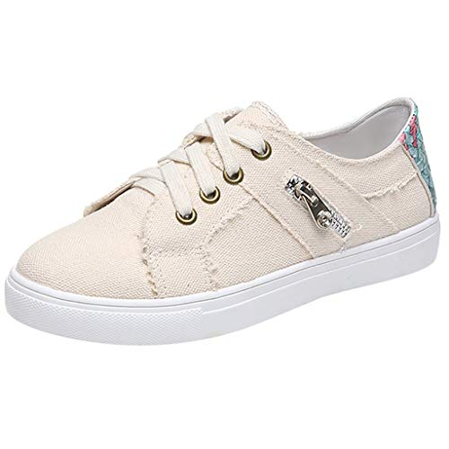 Women's Ankle Flat Suede Lace Up Shoes Women Walking Running Casual Sneakers Round Toe Shoes Size 5-10.5 (US:6.5, Beige (Canvas))