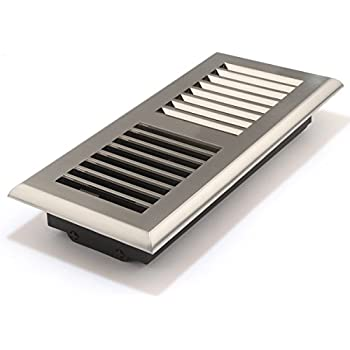 Accord APFRSNL410 Plastic Floor Register with Louvered Design, 4-Inch x 10-Inch(Duct Opening Measurements), Satin Nickel Finish