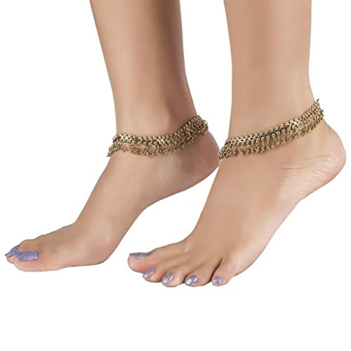 finish traditional gold plated payal anklet pair 28cm ()