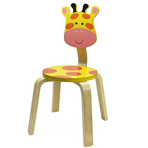 iPlay, iLearn 10 Inch Kids Solid Hard Wood Animal Chair, Stackable Wooden Finished, Preschool, Daycare, Bedroom, Playroom, Nursery Seat, Giraffe Furniture Stool for Toddlers, Children, Boys, ()
