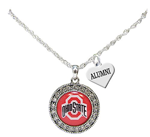 Holly Road Ohio State Buckeyes Alumni Charm Silver Crystal Necklace Jewelry OSU