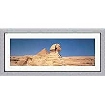 Sphinx Giza Egypt by Panoramic Images Framed Art Print Wall Picture, Flat Silver Frame, 45 x 20 inches