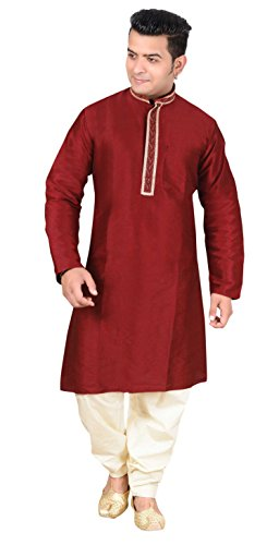 Men's cotton silk Indian sherwani Bollywood Kurta salwar kameez costume 1811 (42 (XL - UK), Maroon)