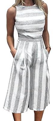 FANCYINN Women Stripe Print Sleeveless Zipper Back Long Jumpsuit Romper Casual Style