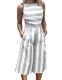 Women Stripe Print Sleeveless Zipper Back Long Jumpsuit...
