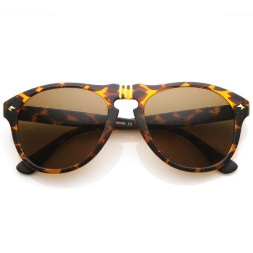 zeroUV - Vintage Designer Round P-3 Frame Key-Hole Horn Rimmed Sunglasses Matte Color - Sunglasses Holes