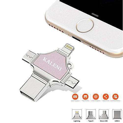 32 Gb Privacy Usb (KALENI USB Flash Drives 32GB,Thumb Drive USB 3.0 Memory Stick External Storage Expansion for iPhone iPad iPod iOS Android PC New MacBook,with Extended Lightning USB Type c OTG Pen Jump Drive Adapter)