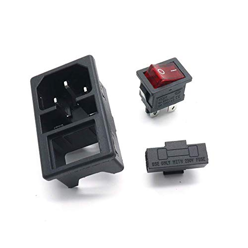 uxcell C6 Panel Mount Plug Adapter AC 250V 2.5A//5A 3Pins IEC Inlet Module Plug Power Connector Socket Straight