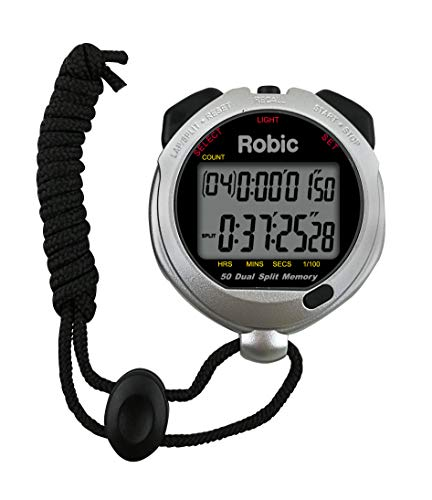 Robic Silver 60 Fifty Dual Memory Stopwatch with Countdown Timer, Backlight, and Temperature, - Stopwatch Memory Dual