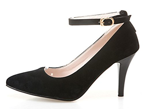 Aisun Donna Elegante Elegante Stiletto Tacco Alto Vegan Suede Con Fibbia Scarpe Con Punta A Punta Scarpe Con Cinturino Alla Caviglia Nero
