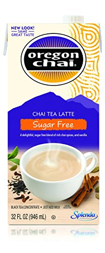 (Oregon Chai Sugar Free Chai Tea Latte Concentrate 32-Ounce Boxes (Pack of 6) Liquid Chai Tea Concentrate Sweetened with Sucralose, Spiced Black Tea For Home Use, Café, Food Service)