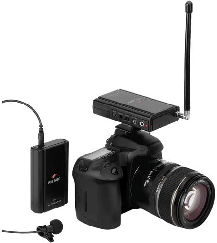 Polsen CAM-2W Camera-Mountable VHF Wireless System with Omnidirectional Lavalier Mic G3 Band