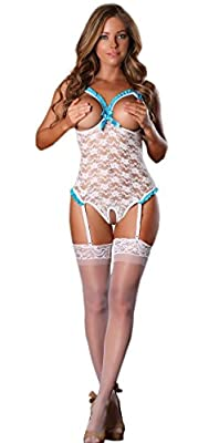 Lubricious Luxury Women's Sexy Lingerie Teddy with Open Cup Bra and Garter Belts
