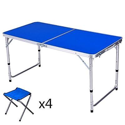 Xing Lin Table Pliable Le Président De La Table De Pique-Nique En Plein Air, Table Et Chaise Pliante Peut Accueillir En Alliage D'Aluminium En Alliage D'Activités De Plein Air Voyage Multifonctionnel 120*60*60Cm