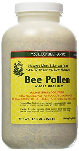 YS Eco Bee Farm Bee Pollen Whole Granules - 16 oz (Pack of 4)