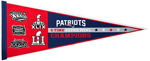 Rico NFL New England Patriots Super Bowl Champion Pennant, Blue, 30