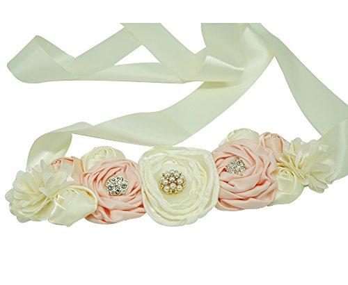 (Spmor Maternity Sash Flower Belt Baby Shower Dress Accessories Bridesmaids Sash)