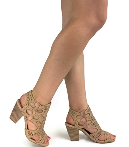 City Classified Open Toe Perforated Lace up Elastic, used for sale  Delivered anywhere in USA