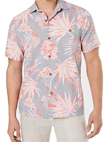 Silk Blend Camp Shirt - Tommy Bahama Monstera Geo Island Zone Silk Blend Camp Shirt (Color: Bala Shark, Size XXL)