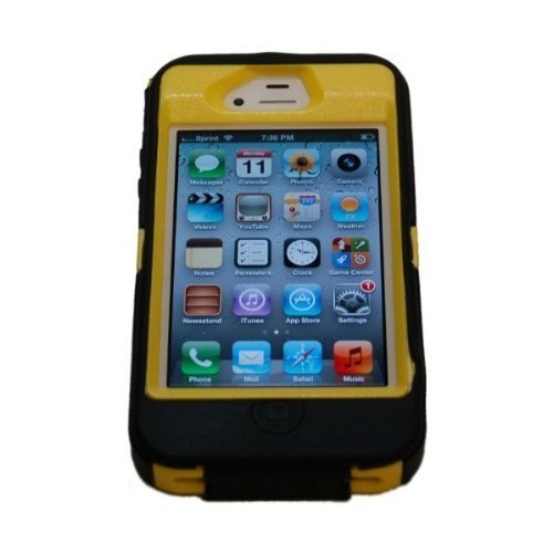 Iphone 4 4S Body Armor Defender + 1pc 3ft Data Cable (Black on (Iphone 4s Case Body Armor)