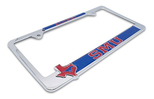 Premium All Metal NCAA SMU Mustangs Alumni License Plate Frame w/Texas Shaped insert (SMU)