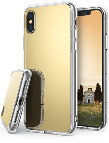 Apple iPhone X Case, iPhone 10 Case, Ringke Fusion [MIRROR] Support Wireless Charge Luxury Mirror Bumper [Shock Absorption Technology] Stylish Protective Cover for Apple iPhoneX - Royal Gold