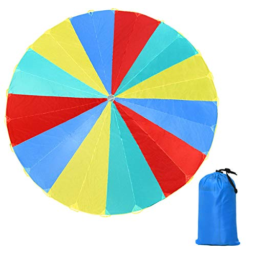 KCHEX>>>20 FT Folded Play Parachute for Kids 24 Resistant-Handles Indoor Outdoor Game>This Rainbow Parachute is Made of Four Basic Colors: red, Yellow, Blue and Green. It's as Gorgeous as a Rainbow